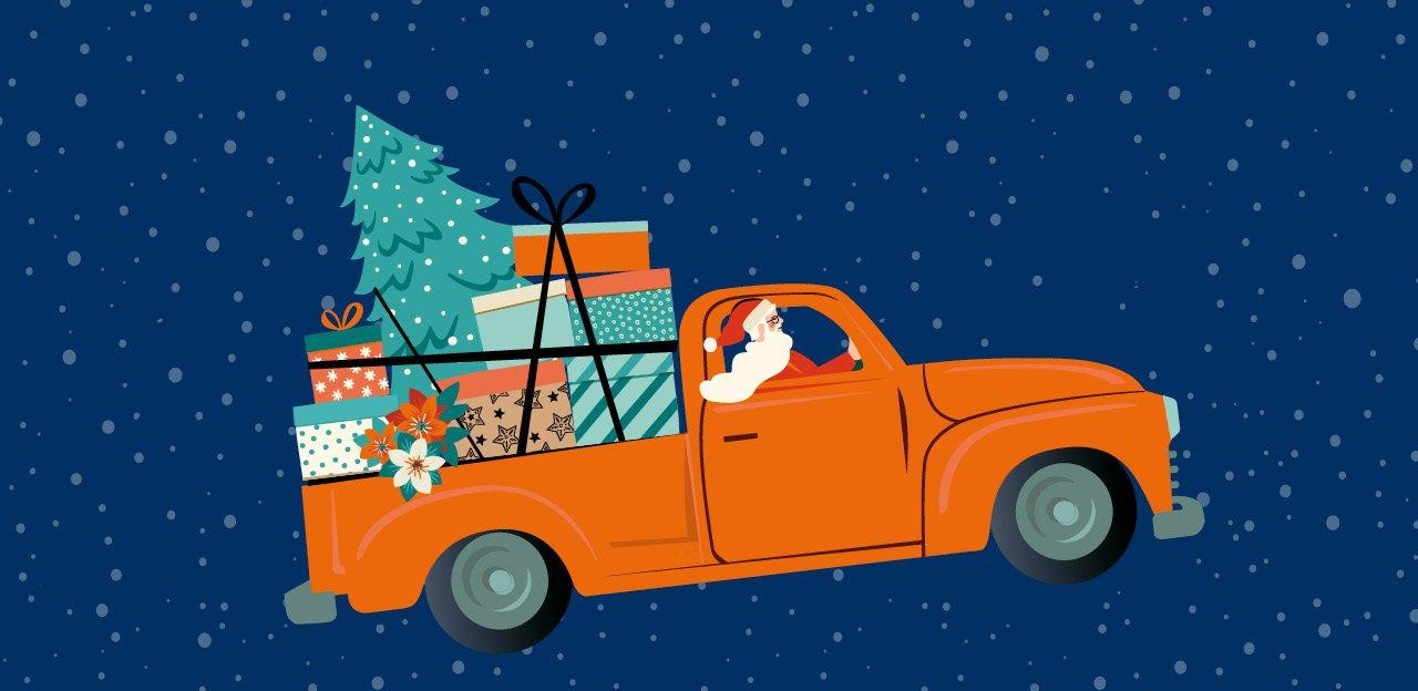 Ein Weihnachtsmann fährt im Auto